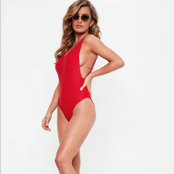 b2c0540fc02 Missguided Swim | High Leg One Piece Suit Red Us 4 | Poshmark